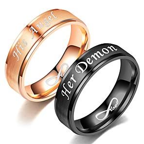 ieftine Inele Cuplu-Pentru cupluri Band Ring Inel Tail Ring 1 buc Negru Roz auriu Teak Circular Vintage De Bază Modă Cadou Bijuterii Inimă Heart