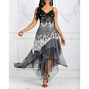 Χαμηλού Κόστους Print Dresses-Γυναικεία 2020 Ασύμμετρο Πράσινο Χακί Μαύρο Φόρεμα Κομψό Ανοιξη καλοκαίρι Καλωσόρισμα Κοκτέιλ Πάρτι Θήκη Γεωμετρικό Τιράντες Στάμπα Τ M / Δαντέλα
