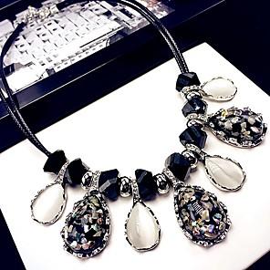 levne Módní náhrdelníky-Dámské Kočičí oko Chrysoberyl Obojkové náhrdelníky Třásně Klasické Módní Chrome Umělé diamanty Černá / Bílá 42 cm Náhrdelníky Šperky 1ks Pro Denní