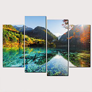 Trykk Valset lerretskunst - Landskap Natur og friluftsliv Klassisk Moderne Fire Paneler Kunsttrykk