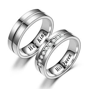 ieftine Inele Cuplu-Pentru cupluri Inele Cuplu Inel 1 buc Alb Argintiu Teak Circular Vintage De Bază Modă Promisiune Bijuterii Coroane Cool
