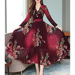 ieftine Inele-Pentru femei Roșu Vin Trifoi Rochie Vintage Linie A Floral În V Imprimeu M L