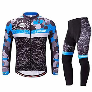 ieftine Mănuși Cycling-21Grams Bărbați Manșon Lung Jerseu Cycling cu Mâneci Iarnă Spandex Negru / Albastru Bicicletă Costume Rezistent la UV Respirabil Uscare rapidă Design Anatomic Confortabil la umezeală Sport Grafic