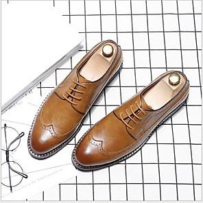 povoljno Muške oksfordice-Muškarci Udobne cipele Mikrovlakana Ljeto Oksfordice Prozračnost Crn / Bijela / Braon