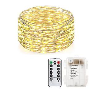 hesapli LED Şerit Işıklar-LOENDE 10m Dizili Işıklar 100 LED'ler Sıcak Beyaz RGB Beyaz Noel Düğün Dekorasyonu Piller Powered
