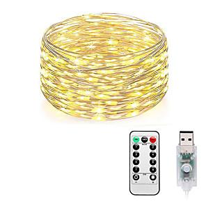 hesapli LED Şerit Işıklar-LOENDE 10m Dizili Işıklar 100 LED'ler Sıcak Beyaz RGB Beyaz Su Geçirmez Yaratıcı USB 5 V USB ile çalışır