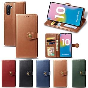 ieftine Carcase / Huse Galaxy Note Series-Maska Pentru Samsung Galaxy Note 9 / Note 8 / Galaxy Note 10 Portofel / Titluar Card / Anti Șoc Carcasă Telefon Mată PU piele