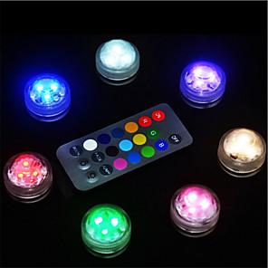 halpa LED-valot ja laitteet-10kpl vedenpitävä akkukäyttöinen rgb-upotettava led-yövalo vedenalainen yölamppu teevalot maljakko-kulhoihin akvaario- ja juhlatilaisuuksiin (sisältävät kaukosäätimen / sisältävät akun)