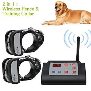 ieftine Benzi Lumină LED-Gard din câine pentru animale de companie fără fir 2 în 1& guler de antrenament gulere de formare sistem de reținere pentru animale de companie impermeabile pentru doi câini