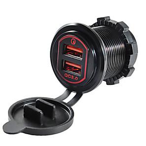povoljno Punjači za auto-5v qc3.0 auto punjač dvostruki usb priključci aluminijski leguri izlazni napon za kamion automobil motocikl džip