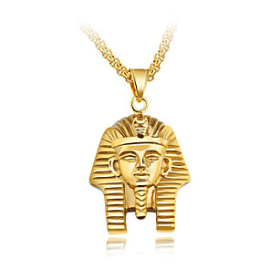 ieftine Coliere-Bărbați Coliere cu Pandativ bizantin Credinţă Egiptul antic Oțel titan Auriu Argintiu 55 cm Coliere Bijuterii 1 buc Pentru Cadou Școală Stradă Club Promisiune