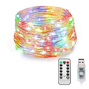 hesapli LED Şerit Işıklar-LOENDE 20m Dizili Işıklar 200 LED'ler Sıcak Beyaz RGB Beyaz Su Geçirmez Yaratıcı USB 110-120 V 5 V USB ile çalışır