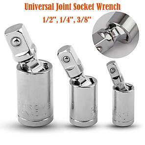 voordelige Originele LED-lampen-3 stks 1/4 3/8 1/2 universele ratelsleutel socket adapter set sliver