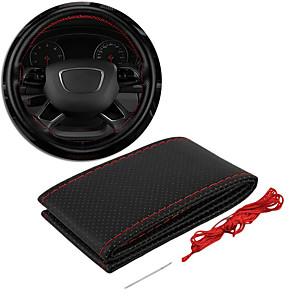ieftine Huse de Scaun & Accessorii-capacul volanului din piele cusături de mână pentru volanul scaunului acoperă tricotul din poliester negru / roșu tot anul