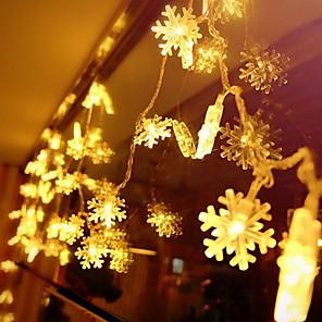 baratos Fitas e Mangueiras de LED-5 m flocos de neve de fadas luzes da corda 50 leds branco quente natal ano novo decorativo 220-240 v 1 conjunto