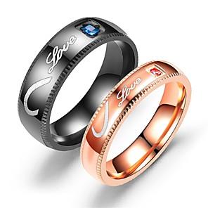 ieftine Inele Cuplu-Pentru cupluri Inele Cuplu Inel Tail Ring 1 buc Negru Roz auriu Teak Circular Vintage De Bază Modă Promisiune Bijuterii Inimă Heart