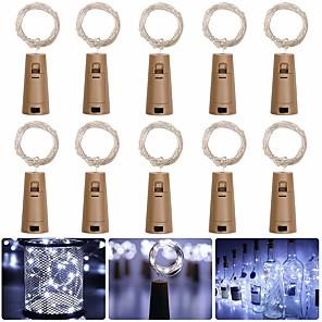 ieftine Fâșii Becurie LED-LOENDE 2m Fâșii de Iluminat 20 LED-uri 10pcs Alb Cald RGB Alb Crăciun decor de nunta Baterii alimentate