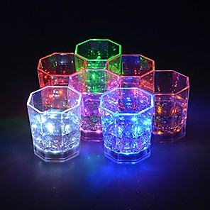 ieftine Lumini Nocturne LED-1pc curcubeu intermitent lumina pahare de vin cu lumini stralucitoare lumina vin / bere ceașcă pentru barul de noapte petrecere ziua de naștere ktv Crăciun 7 culori 170ml