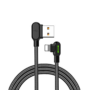 cheap Apple-MCDODO 90 Degree Elbow Gaming Cable Lightning 8 Pin Data Sync Charging Cord 0.5M