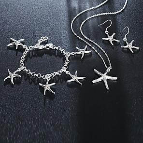 ieftine Cuarț ceasuri-Pentru femei Brățări cu Lanț & Legături Brățări cu Talismane Cercei Picătură #D Stea de mare Stilat Design Unic Argilă cercei Bijuterii Argintiu Pentru Zilnic Muncă 1set / Coliere cu Pandativ