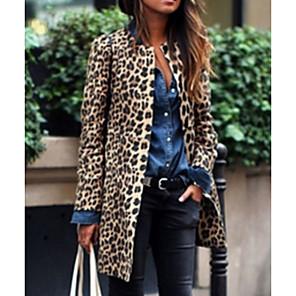 ieftine Peruci & Extensii de Păr-Pentru femei Zilnic Toamna iarna Lung Palton, Leopard Rotund Manșon Lung Poliester Maro