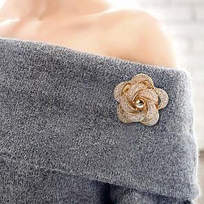 זול סיכות-בגדי ריקוד נשים תפס לשיער קלוע Flower Shape פשוט פאר מתוק סגנון חמוד אלגנטית יהלום מדומה סִכָּה תכשיטים זהב כסף עבור חתונה מתנה רחוב הבטחה