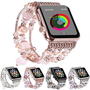 Недорогие Ремешки для Apple Watch-Модный ремешок для часов Apple Watch Band 44мм / 40мм / 38мм / 42мм bling женщины агат бисер ремешок браслет ремешок для яблок смотреть серии 4/3/2/1 для девочек