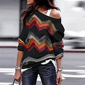 ieftine Cercei-Pentru femei Dungi Manșon Lung Larg Plover Pulover pulovere, Rotund Toamnă / Iarnă Negru / Roșu Vin / Mov S / M / L