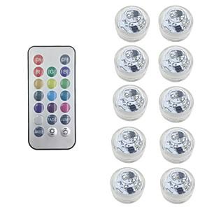 ieftine Aplice de Exterior-10x rgb led cu buton submersibil cu baterie lumânare rotundă lampa subacvatică cu telecomandă gratuită IP68 lampă dimmerabilă impermeabilă pentru iluminarea decorațiunii bazinului pentru piscină (vine