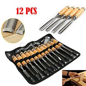 ieftine Tije Pescuit-12pcs / set sculptură manuală din lemn set de unelte pentru cioplitori pentru prelucrarea lemnului cioplit dalta sculă manuală detaliată