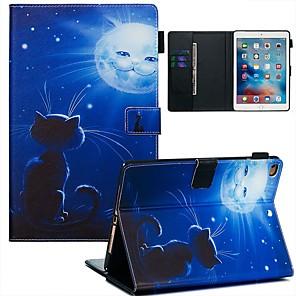 ieftine Ceasuri Damă-Maska Pentru Apple iPad Air / iPad (2018) / iPad Air 2 Portofel / Titluar Card / Model Carcasă Telefon Pisica / Decor PU piele / TPU