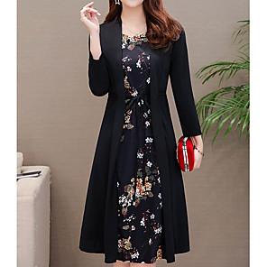 Χαμηλού Κόστους Print Dresses-Γυναικεία Μεγάλα Μεγέθη Κρασί Πράσινο του τριφυλλιού Φόρεμα Βίντατζ Κομψό στυλ street Καθημερινά Ρούχα Δρόμος Θήκη Ντε Πιες Φλοράλ Σουρωτά Με Κορδόνια M L