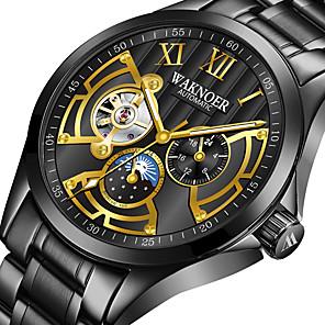 ieftine Inele-Bărbați ceas mecanic Mecanism automat Stil Oficial Stl Oțel inoxidabil Negru / Argint / Auriu 30 m Rezistent la Apă Gravură scobită Rezistent la Șoc Analog Lux Modă - Auriu / Argintiu Negru / Auriu