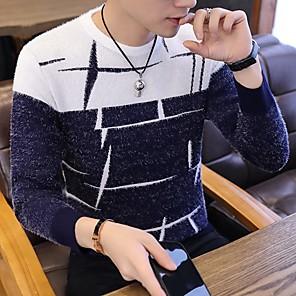 povoljno LED noćna rasvjeta-Muškarci Color block / Sažetak Dugih rukava Slim Pullover Džemper od džempera, Okrugli izrez Crn / Lila-roza / Navy Plava US36 / UK36 / EU44 / US38 / UK38 / EU46 / US40 / UK40 / EU48