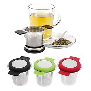 ieftine Ustensile Ceai-coș de infuzor de ceai reutilizabil din oțel inoxidabil strecurătoare de ceai din plasă fină cu filtre cu capac mânere