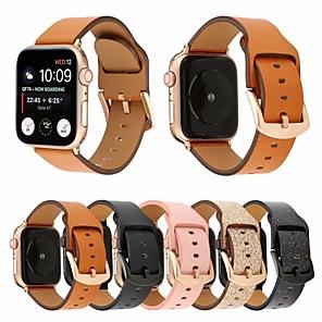 Недорогие Ремешки для Apple Watch-44мм / 42мм / 40мм / 38мм матовый браслет из натуральной кожи с ремешком на запястье с надежной металлической застежкой, совместимой с серией часов Apple