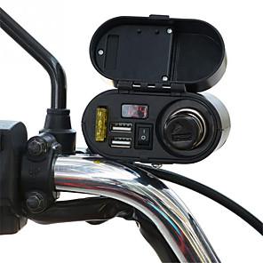 ieftine Părți Motociclete & ATV-încărcător de motocicletă rezistent la apă priză 5v 3.1a usb dublă întrerupător de ieșire a mașinii cu afișaj digital voltmetru brichetă