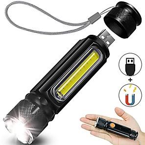 ieftine lanterne-Lanternă reîncărcabilă usb Lanternă portabilă cu led lateral, cu magnet de lumină laterală, zoomabilă cu 4 moduri IP65 impermeabil pentru excursii de urgență și utilizare zilnică