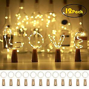 ieftine Fâșii Becurie LED-12 buc 20 leduri sticla de vin lumini de cupru sârmă de zână ușoară cald alb sticlă dop operă atmosferă pentru Crăciun Crăciun festival de vacanță DIY acasă petrecere decorare cadou prezent