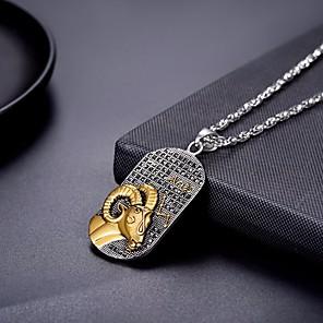 ieftine Coliere-Bărbați Pentru femei Coliere cu Pandativ Lănțișor Charm Colier Zodiac Gemini Berbec Modă Oțel titan Argintiu 60 cm Coliere Bijuterii 1 buc Pentru Absolvire Cadou Zilnic