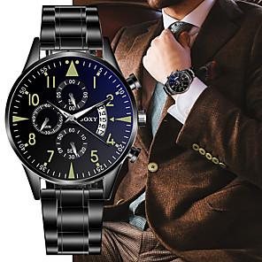 ieftine Ceasuri Damă-Bărbați Ceas Elegant Quartz Stil Oficial Stl Oțel inoxidabil Negru / Argint Calendar Iluminat Analog Modă - Negru Argintiu / negru Un an Durată de Viaţă Baterie