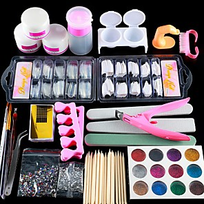billige Neglepleje-1set Glitter Nail Art Tool Nail Art Kit Til Fingernegl Tånegl Multi-funktion Negle kunst Manicure Pedicure Chic & Moderne / Trendy / Fransk Tips Guide