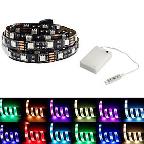 povoljno Muški satovi-5m Savitljive LED trake / RGB svjetleće trake 150 LED diode SMD5050 1set Više boja Vodootporno / Party / Ukrasno Baterije su pogonjene / Samoljepljiva