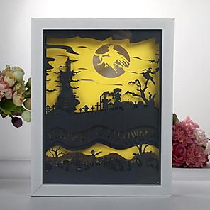 ieftine Kulaklık Aksesuarları-cutie de lumină de hartie 3d led lampă de noapte halloween hârtie sculptare meșteșuguri ornamente pentru copii copii dormitor dormitor