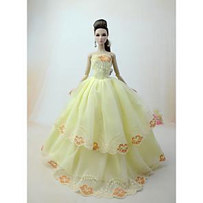 ieftine Ceasuri Damă-Rochie de papusa Petrecere / Seară Pentru Barbie Floral / Botanic Galben Deschis Alb Roz perlat Pentru Fata lui păpușă de jucărie