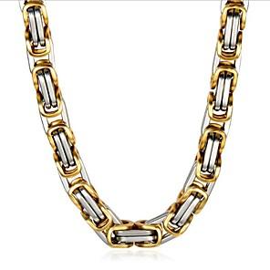ieftine Colier la Modă-Bărbați Lănțișor Clasic Vertical Modă Oțel titan Auriu+Argintiu 50 cm Coliere Bijuterii 1 buc Pentru Zilnic