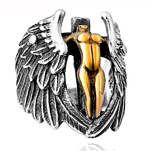 povoljno LED noćna rasvjeta-Muškarci Prsten 1pc Srebro Legura Nepravilan Vintage pomodan Etnikai Dnevno Jewelry Vintage Style Kereszt Anđelova krila