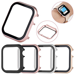 cheap Apple Watch Bands-All-inclusive Tempered Glass Film Protective Case For Apple Watch 40mm/44mm/38mm/42mm Metal Shell Frame For Apple Watch Series 4/3/2/1