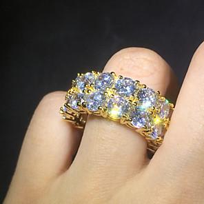 ieftine Inele-Bărbați Pentru femei Band Ring Inel Zirconiu Cubic 1 buc Auriu Argintiu Articole de ceramică Diamante Artificiale Aliaj Montaj de Patru Cilindru Stilat Lux La modă Cadou Bijuterii Lantul de tenis