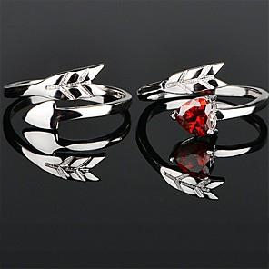 ieftine Inele Cuplu-Pentru cupluri Inele Cuplu Inel 1 buc Argintiu Rosu Articole de ceramică Circular De Bază Corean Modă Nuntă Logodnă Bijuterii Inimă Heart